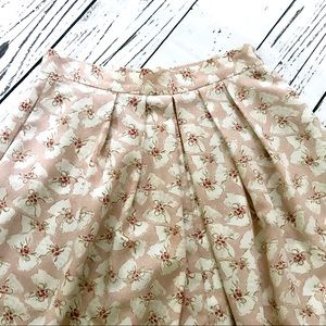 Vintage 1980's pink bow pattern fit & flare skirt